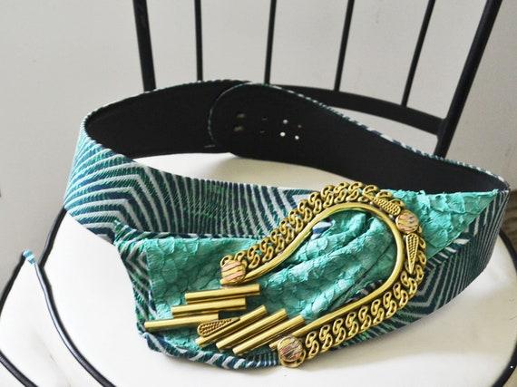 vintage 80s Green leather wide belt - image 2