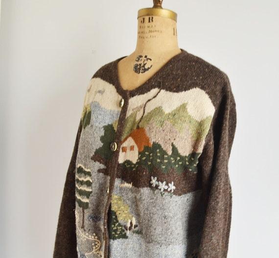 80s novelty Scenic Cardigan -landscape sweater- f… - image 2