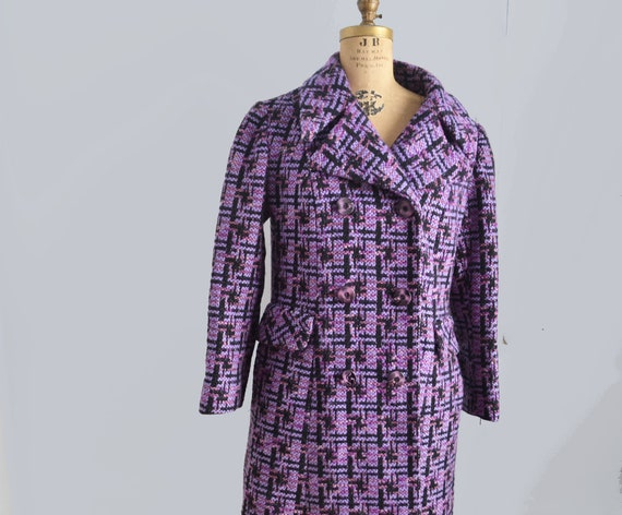 60s Wool Coat  plaid purple