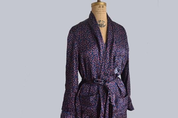 Vintage Mens smoking jacket blue Robe