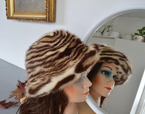 Faux leopard Real mink  fur hat with Brim