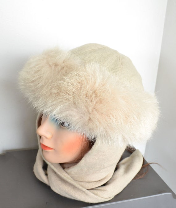 vintage Norwegian Fox fur hat - off white wool hat