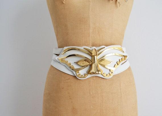 vintage 80s white wide belt