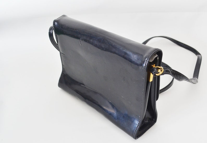vintage patent leather horse bit  bag Made in Canada