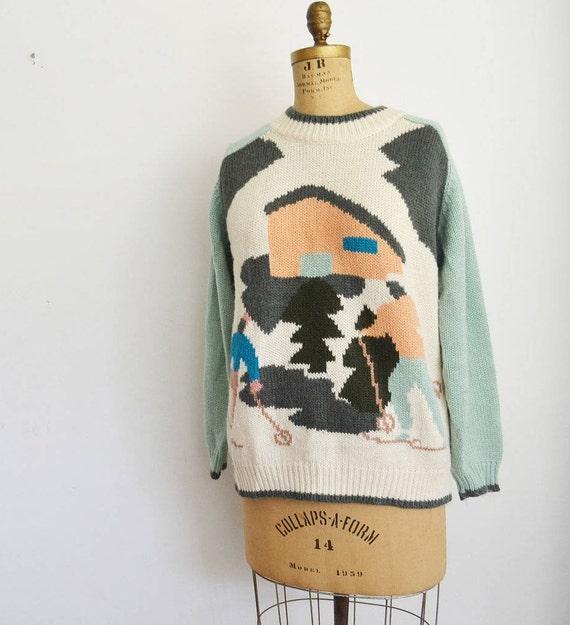 80s Vintage  Ski Sweater novelty jumper Sz L