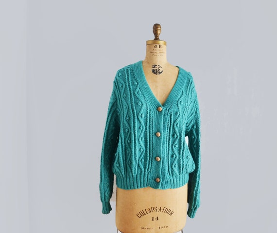 80s popcorn sweater cardigan hand knit   blue  woo