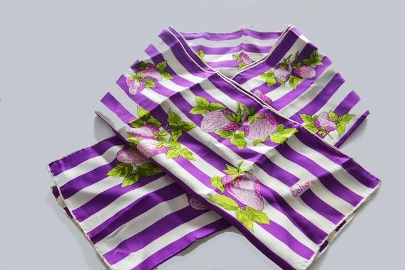 Echo Silk Scarf long  purple stripes  strawberries