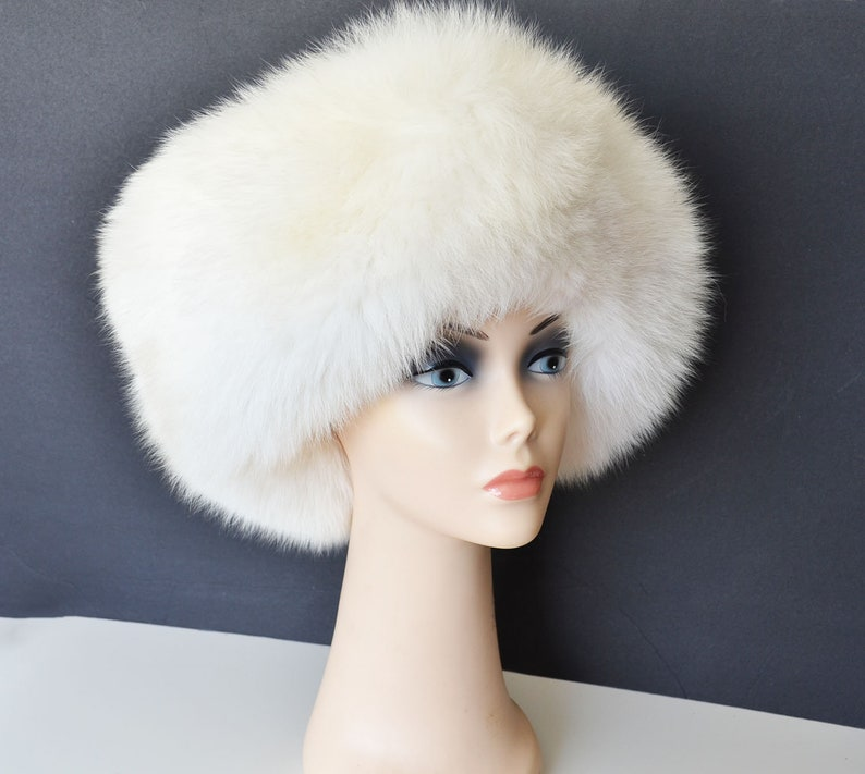 042d925c8b0e0 Vintage oversize fox fur and wool hat with a brim