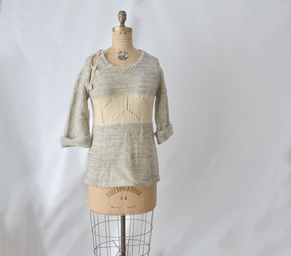 80s Gray Mohair Wool Knit Sweater