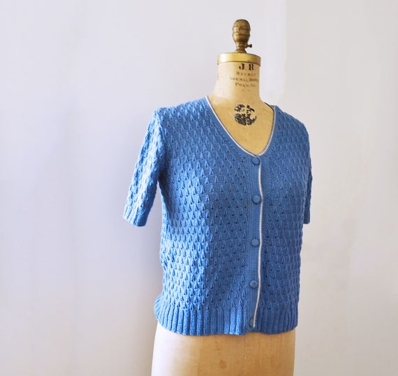 50s Hand knit  sweater blue short sleeves