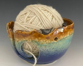 Bird Ceramic Yarn Bowl  Yarn Bowl  Knitting Bowl Ceramic Yarn Bowl Handmade Yarn Bowl  Blue Green Brown Yarn Bowl  YB 52