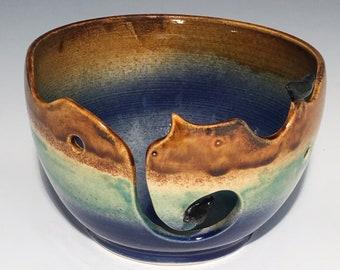 Bird Ceramic Yarn Bowl  Yarn Bowl  Knitting Bowl Ceramic Yarn Bowl Handmade Yarn Bowl  Blue Green Brown Yarn Bowl  YB12