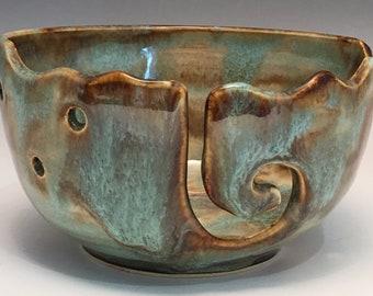 Ceramic Yarn Bowl  Yarn Bowl  Knitting Bowl Ceramic Yarn Bowl Handmade Yarn Bowl  Warm Brown Turquoise Cream Yarn Bowl YB13