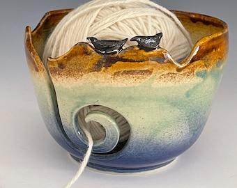 Bird Ceramic Yarn Bowl  Yarn Bowl  Knitting Bowl Ceramic Yarn Bowl Handmade Yarn Bowl  Blue Green Brown Yarn Bowl  YB 50