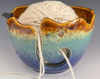 Bird Ceramic Yarn Bowl  Yarn Bowl  Knitting Bowl Ceramic Yarn Bowl Handmade Yarn Bowl  Blue Green Brown Yarn Bowl  YB 51