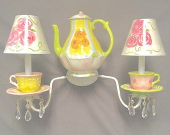 Teapot and Teacups Sconce - Kids Room Sconce - Kitchen Sconce - Tea Party Decor- Alice In Wonderland Room Decor