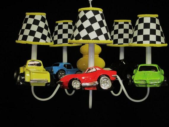Décor de voiture de course du garçon chambre voiture lustre | Etsy