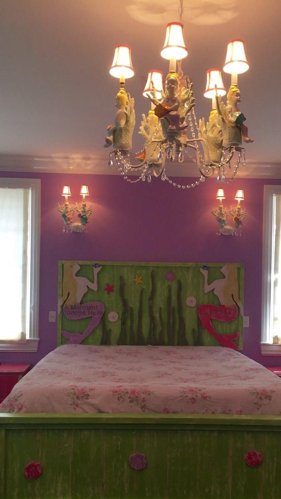 Mermaid Chandelier- Girls Room Chandelier - kids Room Lighting - Beach Decor
