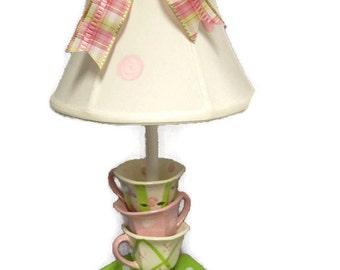 Whimsical Stacked Teacups Lamp - Children's Lighting - Tea Party Decor