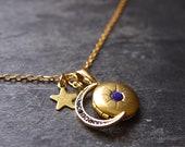 Moon necklace, Antique locket necklace, Celestial jewelry, Picture locket, Photo locket, Half moon necklace, Crescent moon locket