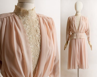 Vintage 1980s does Victorian Dress - Soft Dusty Rose Pink Sheer Flowy Batwing Sleeve Lace Dress - Prim and Proper - Romantic Feminine Med