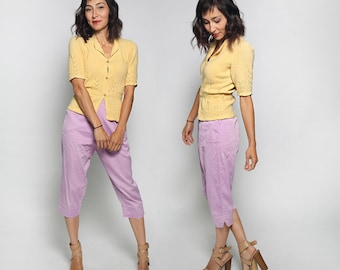 Vintage Lavender Clam Diggers - 1960s Purple Cotton Pedal Pushers - Skinny Fitted Capri Cigarette Pants - 24 Inch Waist Small