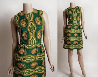 Vintage 1960s Dress - Flower Paisley Print Emerald green and Orange Sleeveless Mod Dress - Pockets - Small XS
