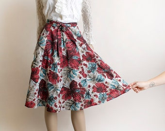 Vintage 1970s Floral Wrap Skirt - Burgundy Maroon and Blue Flower Print Flowy Skirt with Pockets - Cotton - Small