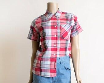 Vintage 1950s Plaid Blouse - Laura Mae Life Blouse - Red White & Gray Plaid Print Button Up Shirt - Cotton - Medium Large