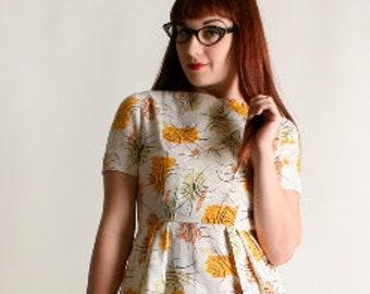Vintage 1950s Dress - Floral Atomic Starburst Novelty Print Autumn Golden Yellow Sheer Tone 1960s Dress - Small XS