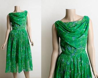 Vintage 1960s Dress - Chiffon Party Dress - Emerald Green and Sky Blue Floral Print - Draped Cowl Neckline - Midi Tea Length - Small