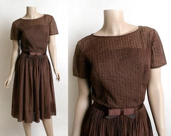 Vintage 1950s Dress - Sheer Cotton Chocolate Brown Pintuck Pleated Overlay Dress - 50s Fashion - Satin Bow Belt - L'Aiglon - Small Medium