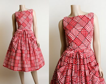 Vintage 1950s Dress - 60s Cherry Red White and Black Geometric Square Striped Polka Dot Print Dress - Cotton with Pockets - Small Medium