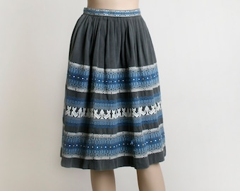 Vintage Guatemalan Skirt - Embroidered Cat Design and Striped - 1950s Light Gray and Sky Blue - Woven Linen - Folk Skirt - Ethnic -  Small