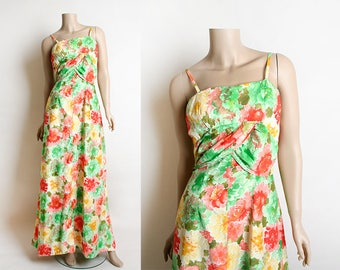 Vintage 1970s Maxi Dress - Floral Print Vibrant Watercolor Full Large Sweep Floor Length Gown - Cotton Summer Dress - Small Medium