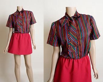 Vintage 1970s Mini Dress - Secretary Striped Rainbow Pussy Bow Ascot Dress - Maroon Pink - Shirtdress - Small