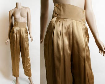 Vintage Satin Gold Pants - Italian Harem Style Copper Bronze Metallic High Waist Slacks - Pancaldi & B - Small