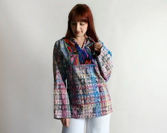 Vintage Guatemalan Huipil Top - Rainbow Colorful Long Sleeve Woven Embroidered Tunic Shirt - Medium Large