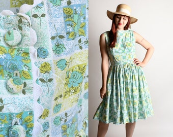 Vintage 1950s Dress - Novelty Print Cotton Rose Summer Dress - Low Scoop Back with Buttons - Mint Green Mustard Yellow - Medium