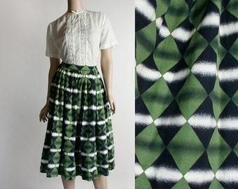 Vintage 1950s Full Skirt - Mint Green Diamond Felt Fuzzy Skirt - Rockabilly Style - 26 Inch Waist small