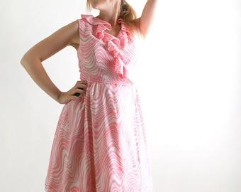 1960s Vintage Dress - Bubblegum Pink and White Zebra Print Sleeveless - Medium Summer Dress