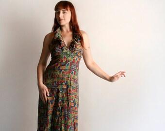 Vintage 1970s Maxi Dress - Halter Dress - Psychedelic Print Rainbow Colorful Festival Ethnic Ruffle Floor Length Dress - Medium