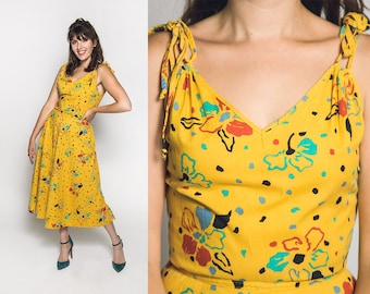 a2d515b9f6 Vintage Floral Print Dress - Mustard Yellow Summer Sundress 1970s -  Shoulder Ties - Bright Colorful Cotton - Small Medium