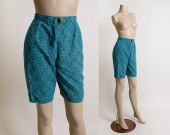 1950s Shell Print Shorts Set Cotton Two Piece by Bill Atkinson for Glen of Michigan Small