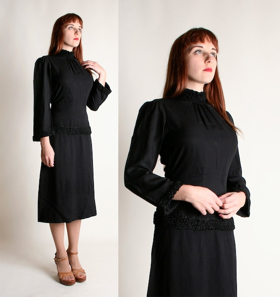 Vintage 1930s Dress - Black Crepe Braided Gothic D