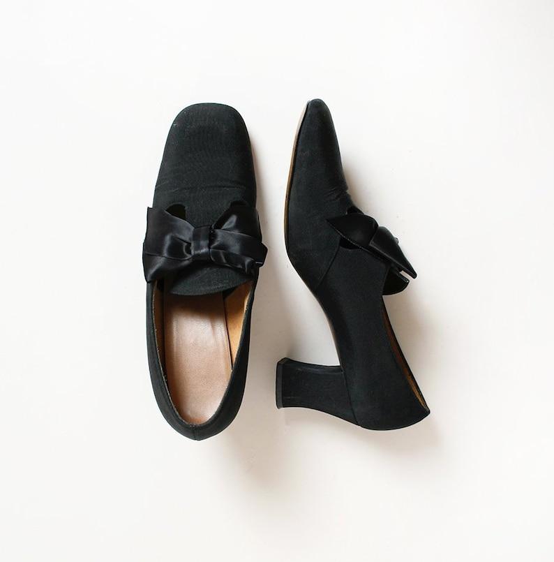93844af7f3c Vintage 1960s Heels Black Satin Bow Mod Evening Heels