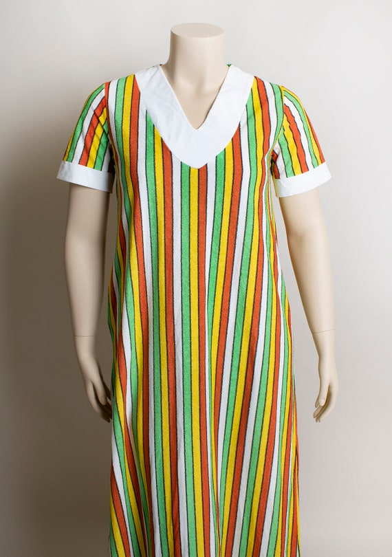 Vintage 1970s Fruit Stripe Towel Dress - Fresh Ci… - image 6