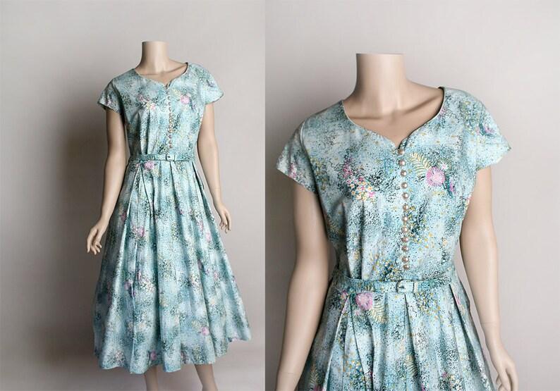 9c4416b183 Vintage 1950s Dress Sky Blue Floral Print Cotton Day Dress | Etsy