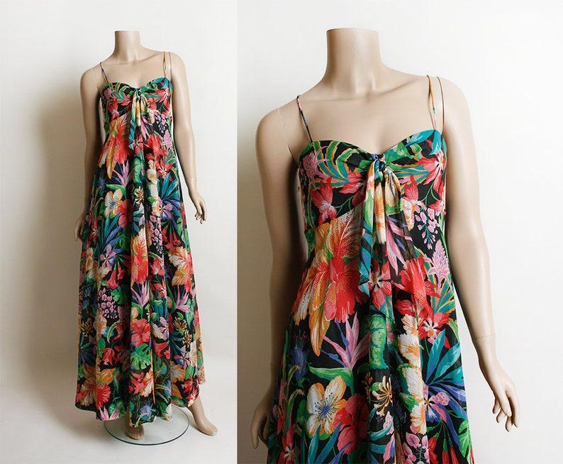 80c96f32c7 Vintage 1970s Dress Dark Floral Tropical Print Rainbow Maxi