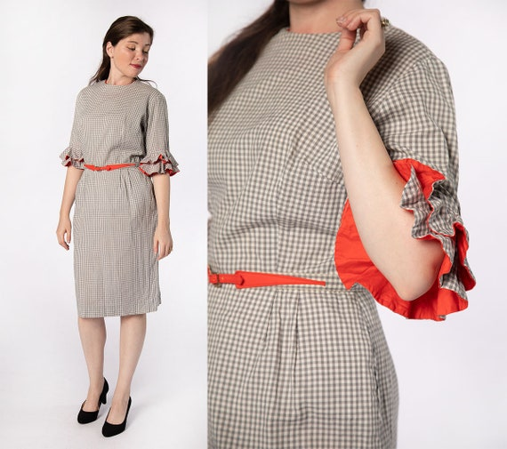 Vintage 1960s Dress - Early 60s Late 50s Gray Ging